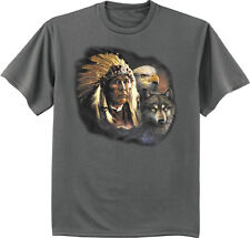 men's big and tall t-shirt Native American Indian eagle wolf tall shirt for men