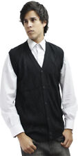 Mens Alpaca Wool Knitted V Neck Sweater Button Down Golf Vest Diamond Design