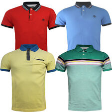 Timberland Short Sleeves Slim Oxford Striped Tipped Pique Mens Polo Shirts U3