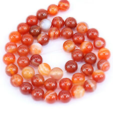 Lots 1Bunch Red Stripes Agate Round Loose Bead Charm Pendant Necklace Jewelry
