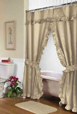 Shower Curtain Ruffled with Attached Valance & Tie Backs & Liner in Linen Beige