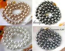 "X0271 18"" 8mm round south sea shell pearl necklace"