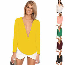 Sexy Womens Zipper V-Neck Tops Shirts Long Sleeve Loose Chiffon Casual Blouse
