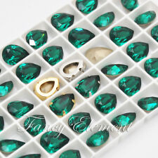 Swarovski 4320 Teardrop Emerald 14x10mm Crystal Metal Setting Sew On Rhinestones