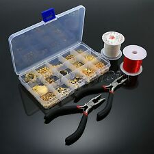 Gold Plated Jewellery Making Starter Kits Bead Caps Pliers Eye Pins Chains Set