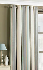 STRIPED WOVEN CURTAINS, RINGTOP EYELET, LINED, DUCK EGG BLUE Cotton Rich PAIR