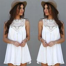 Women Summer Sexy Lace Casual Evening Ball Party Beach Dress Blouse Skirt White