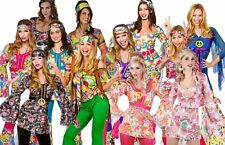 Ladies Womens Hippie Hippy Fancy Dress Costume 60s 70s Groovy Flower Power Outfi