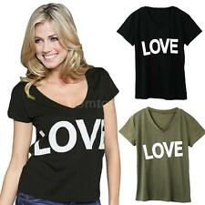 Solid Women LOVE Letter Print Top V-Neck Short Sleeve Fashion T-Shirt F1I4