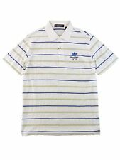 New Carnoustie Polo Shirt White Striped Mens M XL Royal Links Golf Club Logo