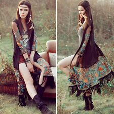 Women Kimono Long Boho See-through Chiffon Tops Coat Black Cardigan Blouse