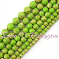 6-14mm Round Smooth Green Imperial Jasper Gemstone DIY Spacer Beads Strand 15""