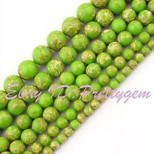 6mm 8mm 10mm 12mm Round Smooth Green Imperial Jasper Gemstone DIY Beads 15 Inch