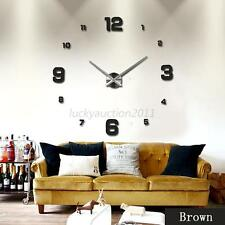 Modern DIY Large Wall Clock 3D Mirror Surface Sticker Home Office Decor 3 Colors