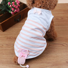 Summer Pet Cat Dog Clothes Vest T Shirt Cartoon Puppy Apparel fashion stripe coo