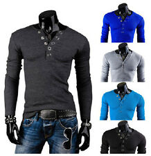 New Fashion Casual Sweaters Slim fit V-Neck Shirts Long-sleeved Men's T-shirt