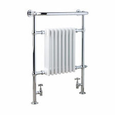 Chrome and White Traditional Victorian Central Heating Radiator Towel Rail