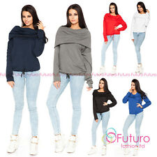 Womens Jumper With Pockets Cowl Neck Sweater Blouse Hoodie Sizes 8-18 FT1439