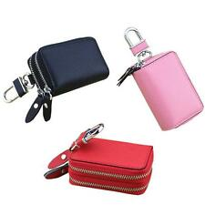 New Genuine Leather Car Key Holder Coin Card Bag Case Purse Double Zip Wallet