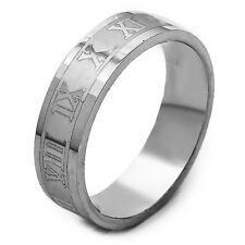 Stainless Steel Mens  Ring Carve Roman Numerals Band Ring Size 7 8 9 10 11