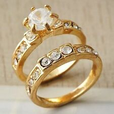 Elegant Womens Yellow Gold Filled Clear CZ Ring Set Size 5-8 9 Ring