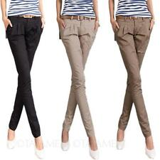 Fitted Career Straight Leg womens Office Trousers cotton Skinny long Pants Size