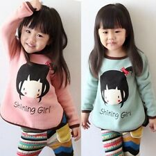 Cartoon Girl Face English Letter Baby Kids' Clothing Crew Neck T-shirt Tops Tee