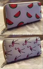 PINK FLAMINGO WATERMELON PRINT CANVAS CLUTCH CHECKBOOK ZIPPER WALLET NEW
