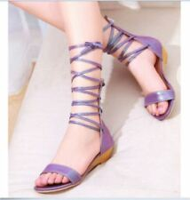 Fashion New Low Wedge Heels Roma Shoes Strappy Gladiator Sandals Womens