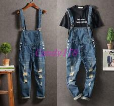 Classic Mens Denim Pants Overalls Suspender Trousers Distress Skinny Jeans Size