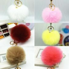 Fashion Key Ring Rabbit Fur Ball PomPom Cell Phone Car Keychain Pendant Handbag