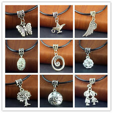 Free Tibetan Silver Pendant PU Leather String Necklace 20 inch Cords Set New