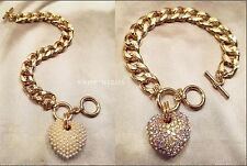 "GOLD METAL MULTI PAVE WHITE PEARL PUFF HEART CHAIN LINK TOGGLE 7.5"" BRACELET NEW"