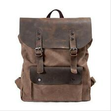 Vintage Men Women's Canvas Leather Rucksack Travel Knapsack Backpack Bookbag Bag