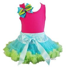 Blue Lime Pettiskirt Tutu Hot Pink Birthday Outfit