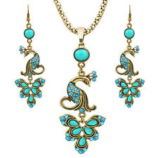 Vintage Look Delicate Peacock Pendant Crystal Resin Necklace Earring Jewelry Set