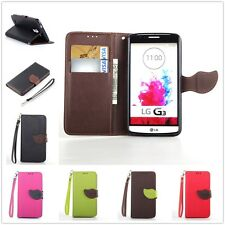 For LG Phones Case Sleeve Lychee Leather Leaf Magnetic Chip Wallet Stand Cover