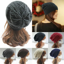 Unisex Womens Men Baggy Cap Chunky Knit Knitted Braided Beanie Slouch Ski Hat