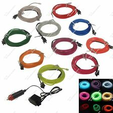 1X 2M Flexible Led Neon Light Glow EL Wire Rope Tube+Controller Car Dance Party