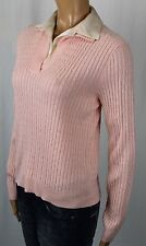Ralph Lauren Pink Cable Knit Cashmere Sweater Silk Collar NWT $159