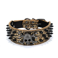 Skull Dog Collar PU Leathe Spiked Studded Leather Dog Collar With Skull Pet Care