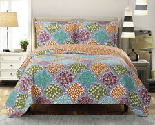 3PC Luxury Dahlia Oversize Coverlet Microfiber Reversible OVER-SIZED Quilt