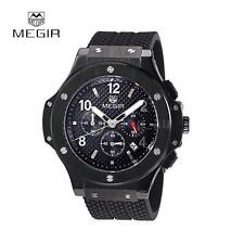 MEGIR Mens Black Rubber Chronograph Date Steel Military Sports Wrist Watch C2N9