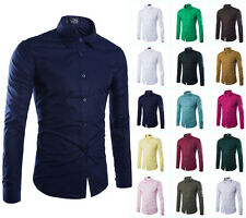 Top Fashion Mens Luxury Stylish Dress Slim Fit Casual Shirts Long Sleeve Shirts