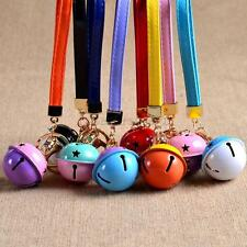 Bicolor Bell w/ PU Leather Chain Pendant Keyring Keychain Keyfob Key Ring Gift