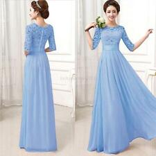 Summer Women Lady Chiffon Dress Lace Long Maxi Evening Cocktail Party Prom Dress