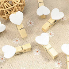Lots Cute Love Heart Wooden Clothes Photo Paper Peg Pin Clothespin Craft Clips