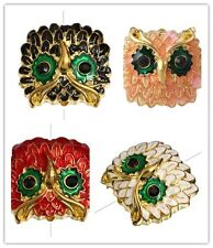 5pc Owl Gold Plated  Crystal Enamel Connector Link Bracelet Bead Charm C0516