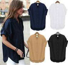 Summer New Womens Casual Loose Batwing Short Sleeve Shirts Blouse Plus Size Tops