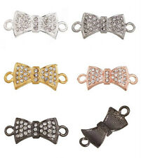 5pc Ribbon Bow Crystal Bead Charm Jewelry Link & Connector C0976